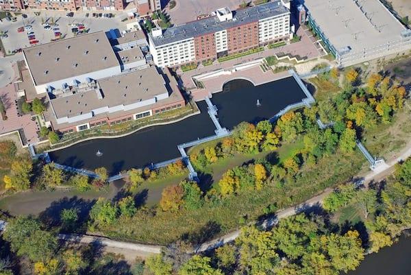 Looking W at Iowa River Landing Wetland Park between Coralville Marriott and Iowa River.