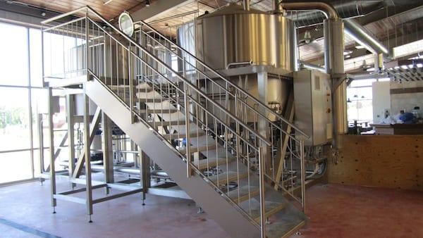 Brewing tanks inside brewery