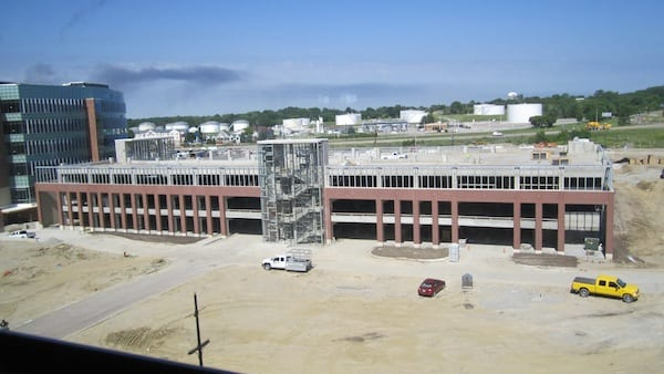 East view of parking garage